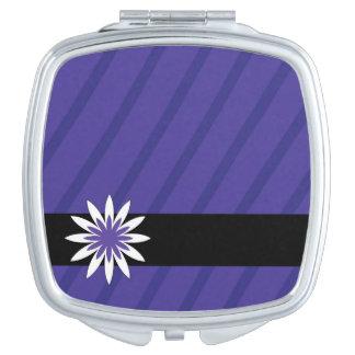 紫色および白い花のストライブ柄のコンパクトの鏡