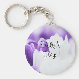 紫色および白い花のKeychain キーホルダー