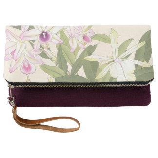 紫色および白い蘭 クラッチバッグ
