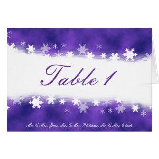 紫色および白い雪片のテーブルカード カード