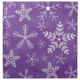 紫色および白い雪片パターン ナプキンクロス