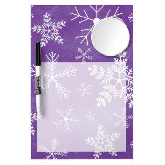 紫色および白い雪片パターン ミラー付きホワイトボード