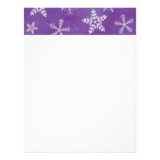 紫色および白い雪片パターン レターヘッド