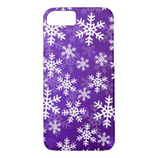 紫色および白い雪片 iPhone 8/7ケース