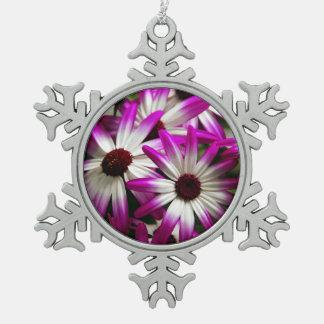 紫色および白いpericallisのクリスマスのオーナメント スノーフレークピューターオーナメント