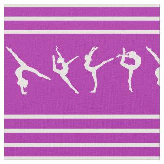 紫色および白くストライプのな体操 ファブリック