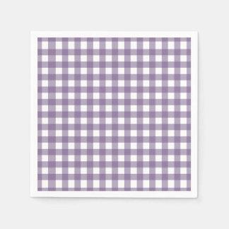 紫色および白によって点検されるギンガムパターン スタンダードカクテルナプキン
