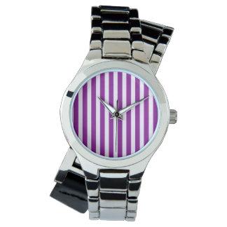 紫色および白のストライプ3 腕時計