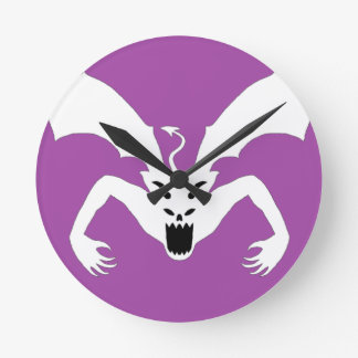 紫色および白人の悪魔 ラウンド壁時計