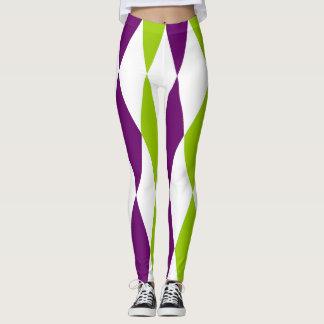 紫色および緑のダイヤモンドのデザインのレギング レギンス