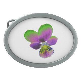紫色および緑のパンジーのベルトの留め金 卵形バックル