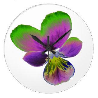 紫色および緑のパンジーの柱時計 ラージ壁時計