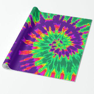 紫色および緑の絞り染め ラッピングペーパー
