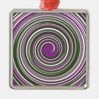 紫色および緑の風車のデザイン メタルオーナメント
