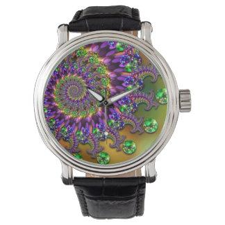 紫色および緑の《写真》ぼけ味のフラクタルパターン 腕時計