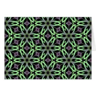 紫色および緑クールなkalieodscopic花 カード