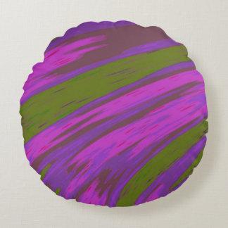 紫色および緑色の棒の抽象芸術 ラウンドクッション