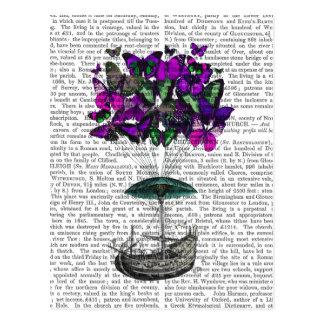 紫色および緑蝶飛行船2 ポストカード
