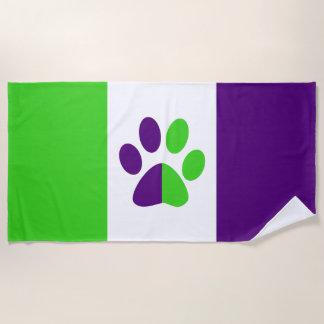 [紫色および緑]ストライプな色ブロック ビーチタオル