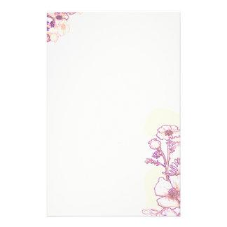 紫色および羊皮紙のケシ 便箋