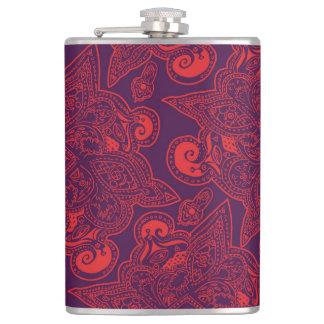 紫色および赤いペルシャの星の曼荼羅パターン フラスク