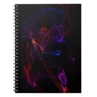 紫色および赤の抽象的な炎の芸術のノート ノートブック