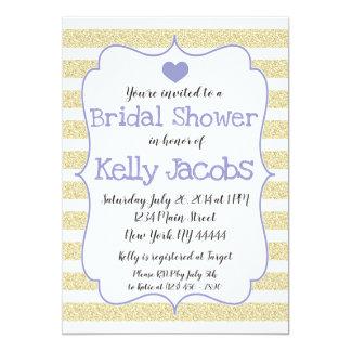 紫色および金ゴールドのグリッターのブライダルシャワーの招待状 カード