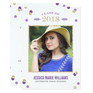 紫色および金ゴールドのグリッターの点の卒業の招待状 カード
