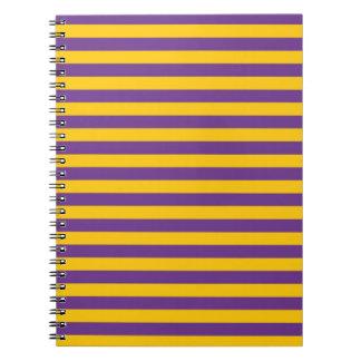 紫色および金ゴールドのストライプなノート ノートブック