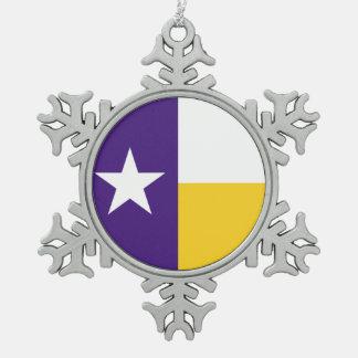 紫色および金ゴールドのテキサス州の旗 スノーフレークピューターオーナメント