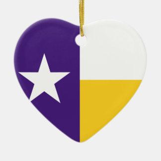 紫色および金ゴールドのテキサス州の旗 セラミックオーナメント