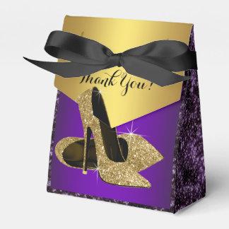 紫色および金ゴールドのハイヒールの靴の誕生日 フェイバーボックス