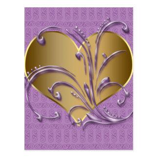 紫色および金ゴールドのハート ポストカード