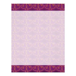 紫色および金ゴールドのバレンタインのハート レターヘッド