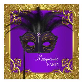 紫色および金ゴールドのマスクの仮面舞踏会のパーティー 13.3 スクエアインビテーションカード