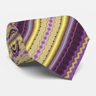 紫色および金ゴールドの斜めのフラクタルパターン ネクタイ