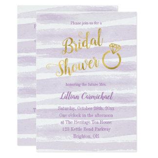 紫色および金ゴールドの水彩画のストライプのブライダルシャワー カード