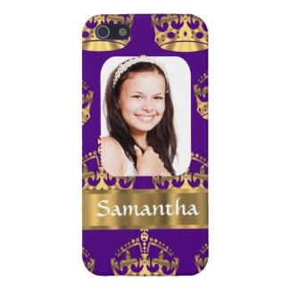 紫色および金ゴールドの王冠の名前入りな写真 iPhone SE/5/5sケース