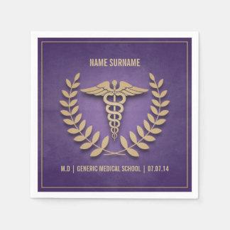 紫色および金ゴールドの衛生学校の卒業 スタンダードカクテルナプキン