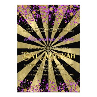 紫色および金ゴールドホイルバルミツワー カード