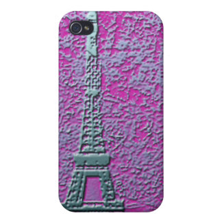 紫色および銀製のエッフェル塔の携帯電話の箱 iPhone 4/4S CASE