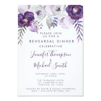 紫色および銀製の水彩画のリハーサルの夕食 カード