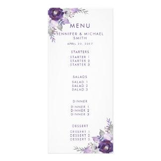 紫色および銀製の水彩画の花の結婚式メニュー ラックカード