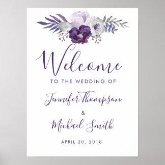 紫色および銀製の水彩画の花の結婚式 ポスター