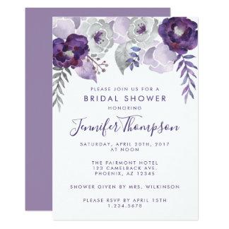 紫色および銀製の水彩画の花柄のブライダルシャワー カード
