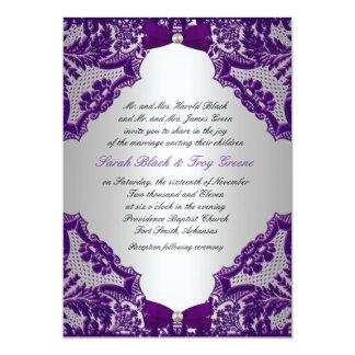 紫色および銀製の結婚式招待状 カード