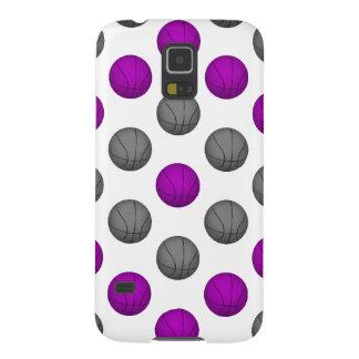 紫色および銀製灰色のバスケットボールパターン GALAXY S5 ケース