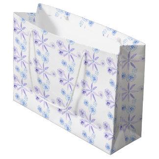 紫色および青のかわいい花のギフトバッグ ラージペーパーバッグ