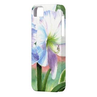 紫色および青のハイライトの巨大な白い花 iPhone SE/5/5s ケース