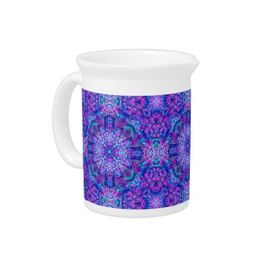 紫色および青の万華鏡のように千変万化するパターンの磁器の水差し ピッチャー